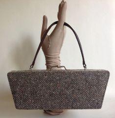 ALDO Brown Herringbone Tweed & Moc Croc Vintage Style Handbag & Shoulder Strap