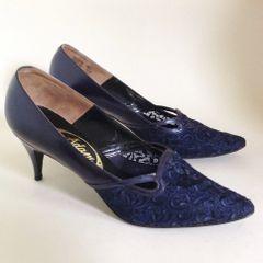Adam Vintage 1950s Rockabilly Blue Pearlescent Leather & Lace Almond Toe Court Shoe UK 5.5 EU 38.5 Vintage Size 70 B