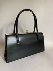 MIDDX Black Faux Leather 1950s Vintage Handbag Kelly Bag With Buff Suede Lining