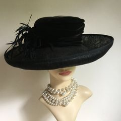 Country Casuals Black Straw Mix & Velvet Wedding Church Dress Funeral Hat Feather Detail Fully Lined