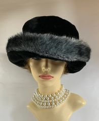 Whiteley Black With Grey Edging Cossack Style Faux Fur Hat With Bronze Quilted Fabric Lining