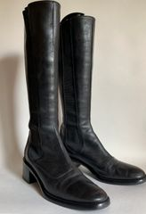 Hobbs Black Leather Pull On Low Heel Boots With Elasticated Sides Size UK 5.5 EU 38.5
