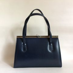 Blue Faux Leather 1950s Vintage Handbag With Blue Fabric Lining And Elbief Frame