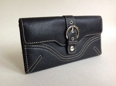 Lorenz Black Textured Leather Coin Purse Wallet and Address and Card Label With Leather and Fabric Interior