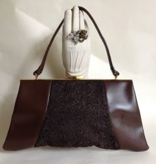 ALLIGATOR Faux Leather & Lace Rich Brown 1950s Vintage Handbag Mad Men Kelly Bag