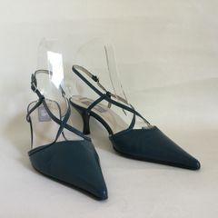 "Wallis Teal Leather Slingback 3"" Kitten Heel Cross Over Pointed Shoe Size UK 4 EU 37"