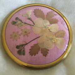 Jacqueline Bradley Round Dried Flower Fabric Vintage Vanity Handbag Mirror