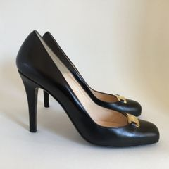 "L.K.Bennett Black All Leather Court Shoe 4"" Slim Heels Gold Trim Size UK 5.5 EU 38.5"