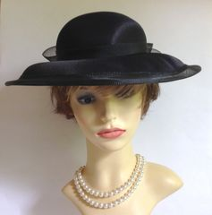 C & A Yessica Vintage 1990s Black Satin Dress Hat Wedding Funeral Church Races With Mesh Ribbon and bow detailing.