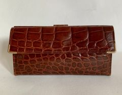 Crocodile Skin Chestnut Leather 1950s Vintage Wallet Purse Brown Leather Lining