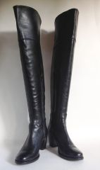 Tendenze All Leather Black Over Knee Pull On Boots 2.5 Inch Heel Ankle Zip UK 4