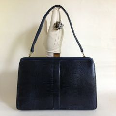Blue Lizard Skin 1950s Vintage Handbag With Pale Blue Suede Lining Kelly Bag Mad Men