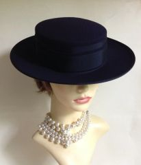 Jaeger Ladies Wedding Church Races Formal Hat Polyester Dark Blue With Bow And Ribbon Details