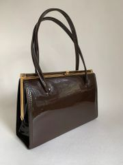 MacLaren 1960s Vintage Brown Patent Handbag With Fabric Lining And Elbief Frame