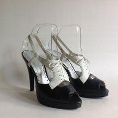 "BCB Girls Black & White Platform 5"" Heel Sling Back Peep Toe Shoe UK 5.5 EU 38.5"
