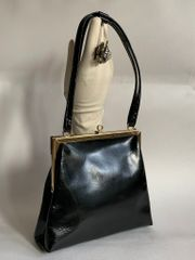 Jane Shilton Black Patent Leather 1960s Vintage Handbag With Black Fabric Lining And Elbief Frame