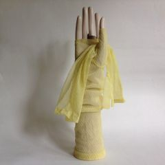 1960s Vintage Yellow Fingerless Diamond Pattern Stocking Opera Gloves 13 Inch