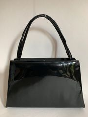 A Stylo Barratt Black Synthetic Patent 1960s Vintage Handbag Fabric Lining Elbief Frame