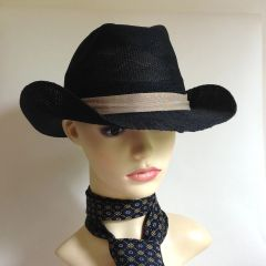 "Light Weight Black Men's Summer Stingy Brim Trilby Hat 23"" Stretch Beige Ribbon"
