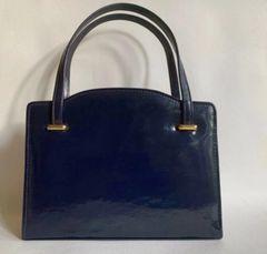 Elliott Dark Blue 1950s Patent Leather Vintage Handbag With Buff Suede Lining
