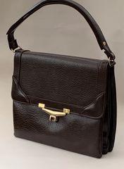 Chamelle Vintage 1970s Brown Faux Leather Handbag Shoulder Bag Fabric Lining.