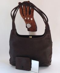 Brown 1960s Soft Leather Vintage Handbag Purse Mirror Fabric Lining Mod GoGo