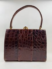 Chestnut Brown Crocodile Skin 1950s Vintage Handbag Buff Suede Lining & Mirror