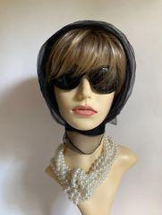 Vintage 1960s Off Black Chiffon Nylon Crepe Head Scarf Rolled Hem Edge