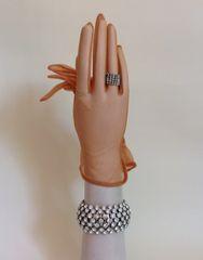 1950s Vintage American Tan Nylon Stocking Gloves Size 6 .5