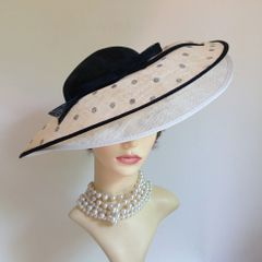 Marks & Spencer Double Brim Abaca Fascinator Black Top Spotted Over Brim Cartwheel Hat
