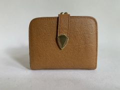 Light Brown Textured Leather 1950s Vintage Coin Purse Wallet Leather Lining.