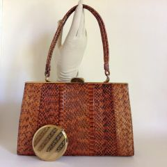 1950s Vintage Handbag & Stratton Compact Tan Coloured Snake Skin with A Mushroom Coloured Suede Interior.