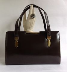 ACKERY Brown Leather 1950s Vintage Handbag Buff Suede Lining With Elbief Frame