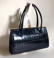 Freedex Black Synthetic Moc Croc Retro Vintage Inspired Handbag Kelly Bag With Ivory Well Loved Fabric Lining