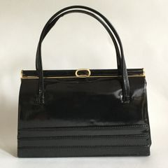 Black Faux Patent 1960s Vintage Handbag With Buff Suede Leather Lining And Elbief Frame
