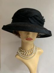 C&A Black Straw Dress Hat Weddings Funeral Church Races With Inter Woven Detail