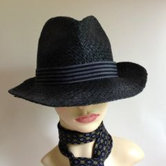 "Light Weight Black Men's Summer Stingy Brim Trilby Hat 23"" Striped Ribbon"