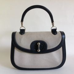 Fior Black Leather And Ivory Canvas 1960s Small Vintage Handbag Black Leather Lining