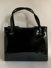 St Michael Black Faux Patent Vintage 1960s Vintage Handbag With Fabric Satin Interior And Elbief Frame