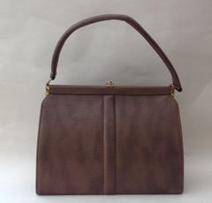 Vintage 1950s Handbag Taupe Faux Lizard With Dark Copper Fabric Lining Goodwood