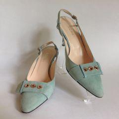 "Hobbs Light Blue Suede Adjustable Slingback Shoes 3 5"" Stiletto Heel Size UK 6 EU 39"