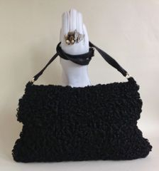 1960s Large Black Vintage Astrakhan And Cotton Velvet Fur Hand Muff Bag With Rear Purse
