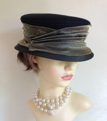 Helen's Hats Black & Olive Ribbon Wedding Church Dress Hat