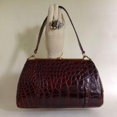 Fassbender Crocodile Skin 1950s Chestnut Brown Vintage Handbag With Dark Brown Suede Lining