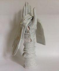 Pinkham 1950s Vintage Silver Lurex Nylon Opera Gloves Two Pearl Button Closure
