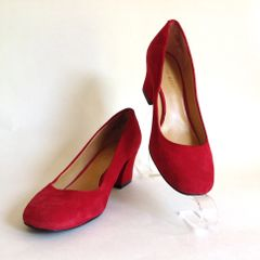 "NINE WEST Nine West 'Spotlight' Red Suede Leather 2"" Block Heel Round Toe Court Shoe UK 3 EU 36 US 5W"