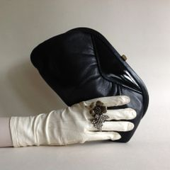 Elgee 1970s Vintage Black Soft Leather Clutch Bag With Black Fabric Lining.