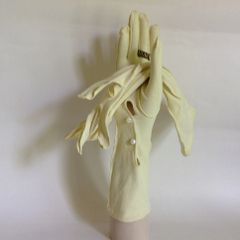 Ivory Vintage 1950s Cotton Two Button Evening Gloves Size 6.5 Shortened Goodwood