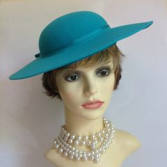 Jacques Vert Ladies Wedding Races Formal Hat Turquoise With Bow Polyester & Wool