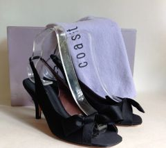 COAST Black Satin Slingback Peep Toe Kitten Heel Shoes Protective Bag & Box UK 4
